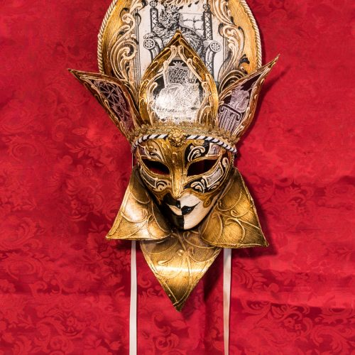 Maschera Veneziana Volto Foglia Gatti Oro
