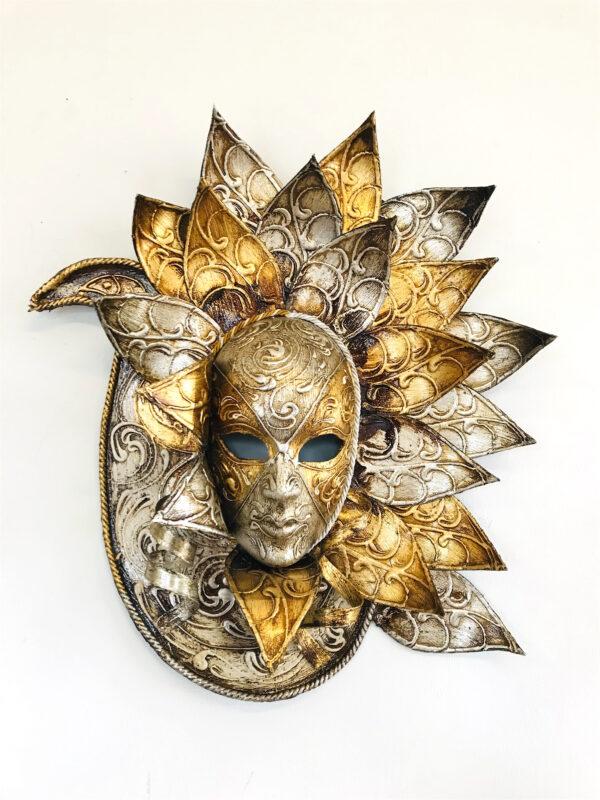 Maschera Veneziana Pavone Oro/Argento