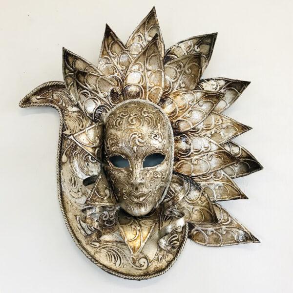 Maschera Veneziana Pavone Argento