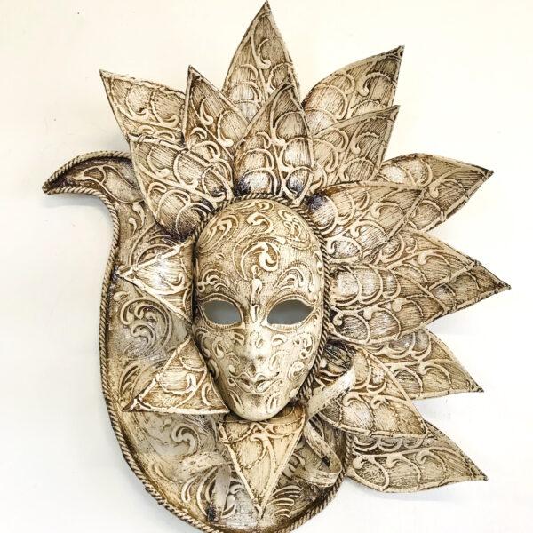 Maschera Veneziana Pavone Avorio