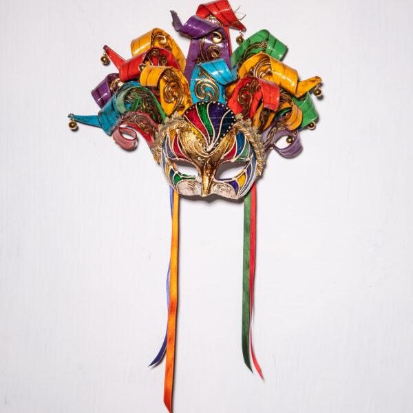 Maschera Veneziana Mezzovolto Jolly Arcobaleno